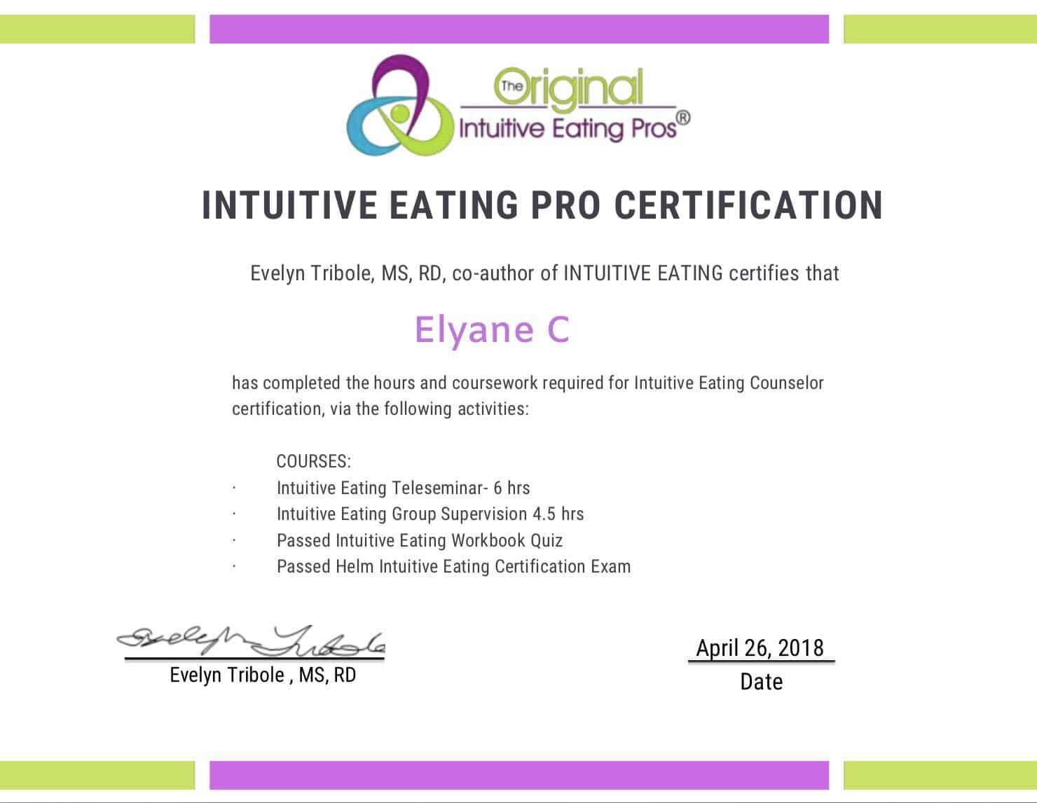 certificat alimentation intuitive